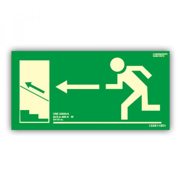 Señal Salida Escaleras Izquierda Hacia Arriba 32x16cm
