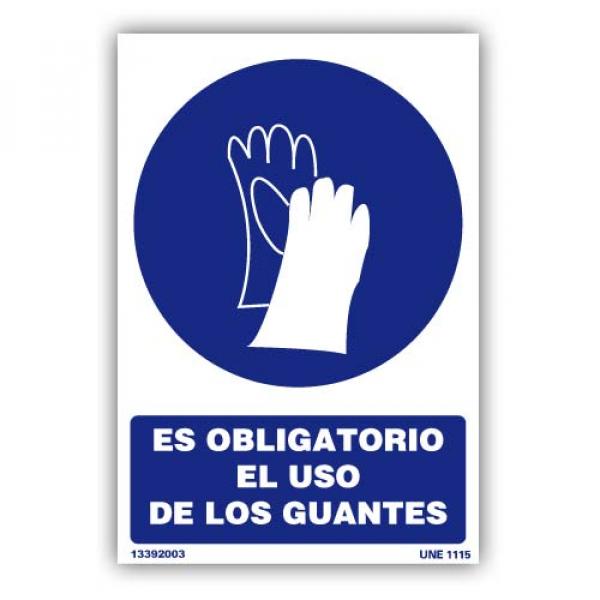 """Señal """"Es Obligatorio el Uso de Guantes"""""""""""