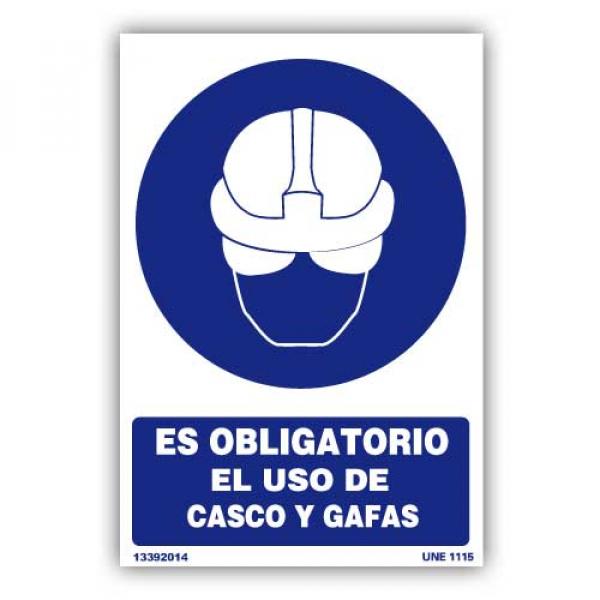 """Señal """"Es Obligatorio el Uso de Casco y Gafas"""""""