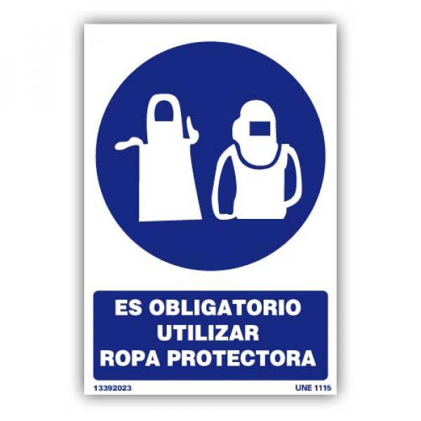 """Señal """"Es Obligatorio Utilizar Ropa Protectora"""""""
