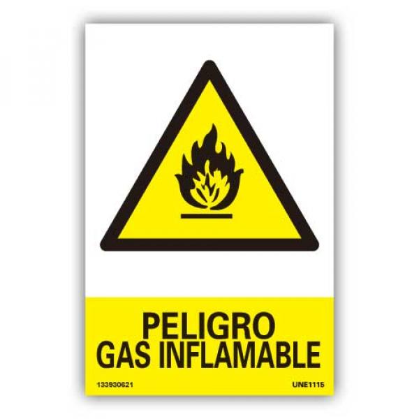 """Señal """"Peligro Gas Inflamable"""""""