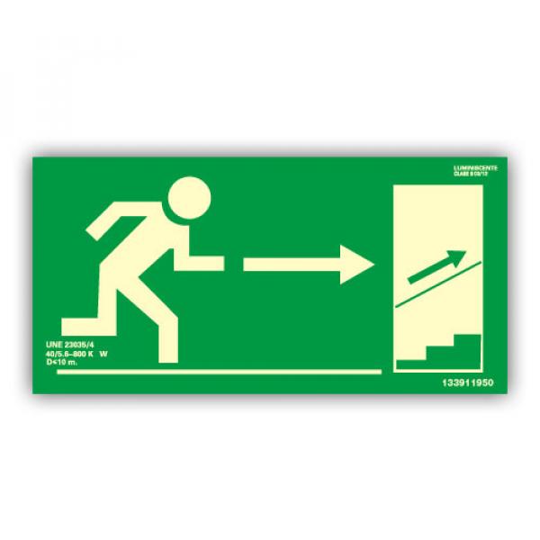 Señal Salida Escaleras Derecha Hacia Arriba 32x16cm