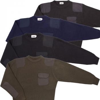 Jersey cuello redondo con refuerzos y bolsillo
