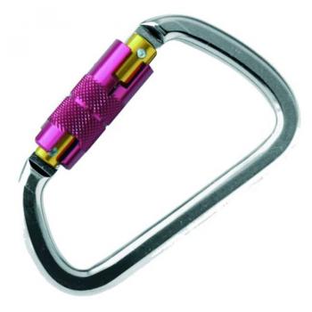 Mosquetón de aluminio ligero con cierre de seguridad tipo rosca. Disponible con cierre automático y cierre manual.