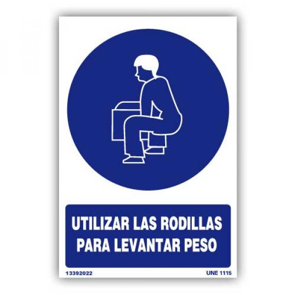 """Señal """"Utilizar las Rodillas para Levantar Peso"""""""