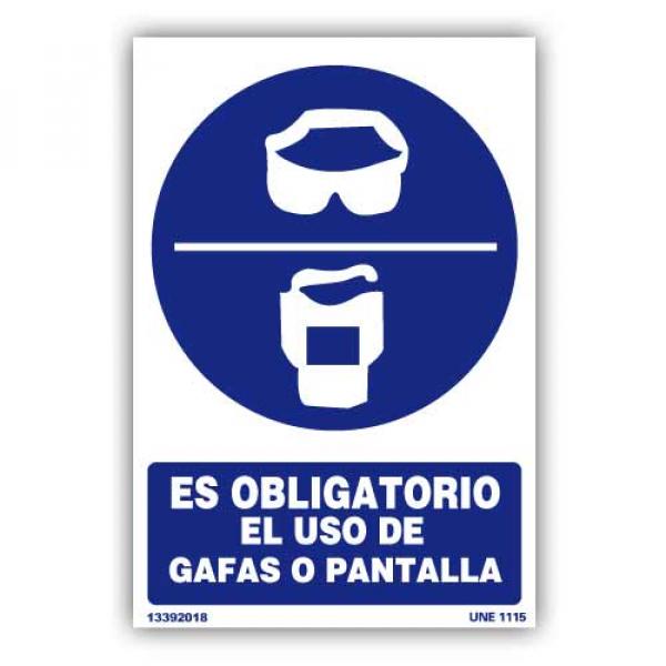 """Señal """"Es Obligatorio el Uso de Gafas o Pantalla"""""""
