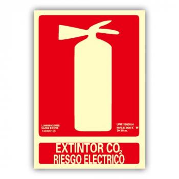 """Señal """"Extintor Co2 Riesgo..."""