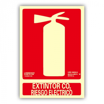 "Señal ""Extintor Co2 Riesgo Eléctrico"" 21x30cm"