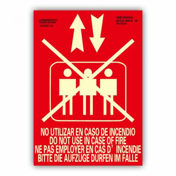"""Señal """"No Utilizar Ascensor en Caso de Incendio"""" Internacional 21x30cm"""