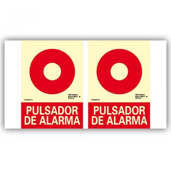 """Panorámica PVC Texto """"Pulsador de Alarma"""" 21x30cm"""