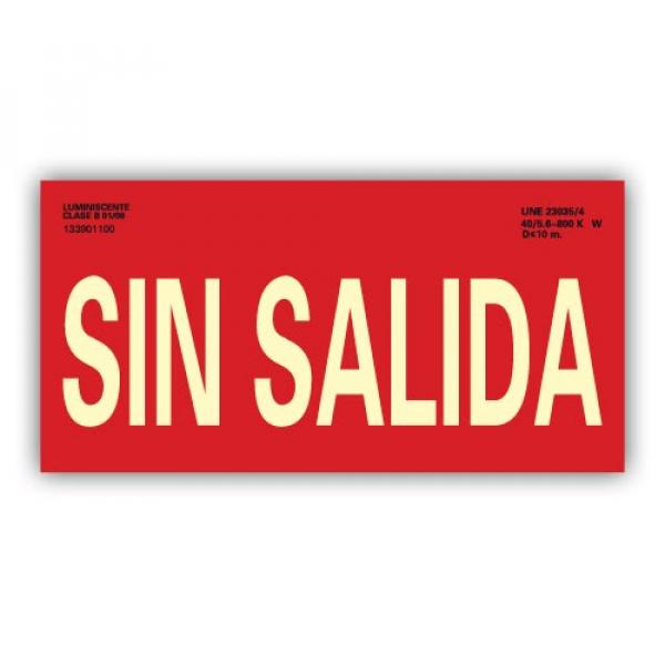 """Señal Texto """"Sin Salida"""" 15x30cm"""