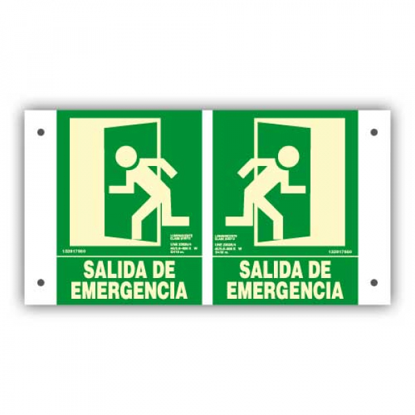 "Panorámica PVC ""Salida de Emergencia"" 22x30cm"