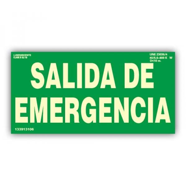 """Señal Texto """"Salida de Emergencia"""" 30x15cm"""