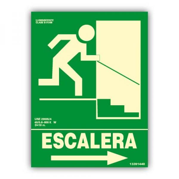 "Señal ""Escalera"" Flecha Derecha Bajada 22x30cm"