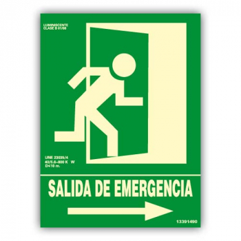 "Señal ""Salida de Emergencia"" Flecha Derecha 22x30cm"