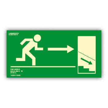 Señal Salida Escaleras Derecha Hacia Abajo 32x16cm