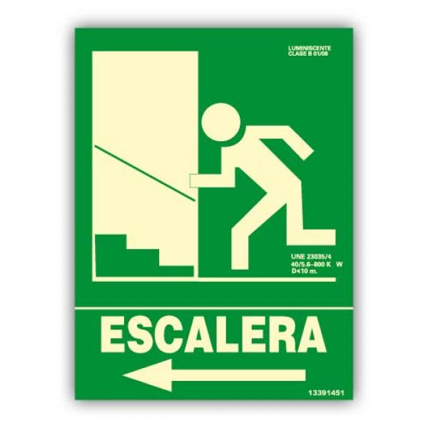 "Señal ""Escalera"" Flecha Izquierda Subida 22x30cm"