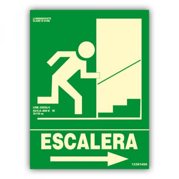 "Señal ""Escalera"" Flecha Derecha Subida 22x30cm"