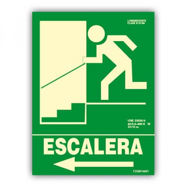 "Señal ""Escalera"" Flecha Izquierda Bajada 22x30cm"