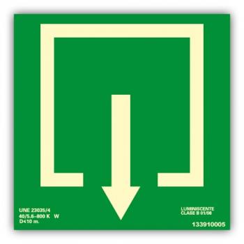 Señal Flecha de Situación Abajo 22x22cm