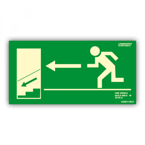 Señal Salida Escaleras Izquierda Hacia Abajo 32x16cm
