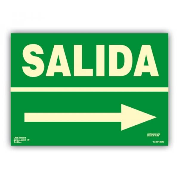 "Señal ""Salida"" con Flecha Derecha 42x30cm"