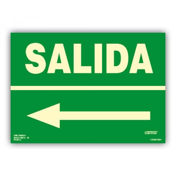 "Señal ""Salida"" con Flecha Izquierda 22x30cm"