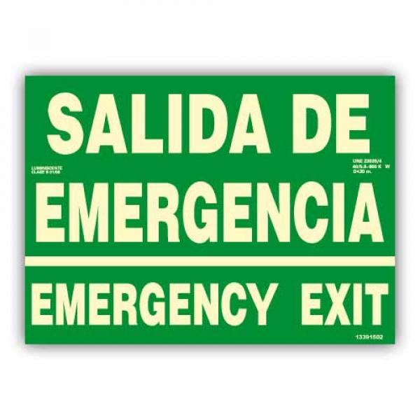 "Señal ""Salida de Emergencia/ Emergency Exit"" 42x30cm"