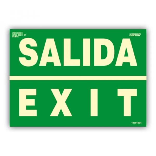 """Señal """"Salida/ Exit"""" 42x30cm"""