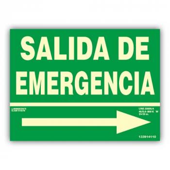 """Señal Texto """"Salida de Emergencia"""" con Flecha Derecha 22x30cm"""