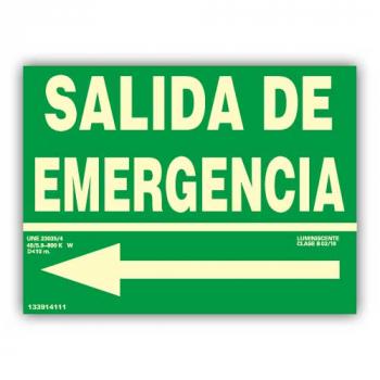 """Señal Texto """"Salida de Emergencia"""" con Flecha...81"""