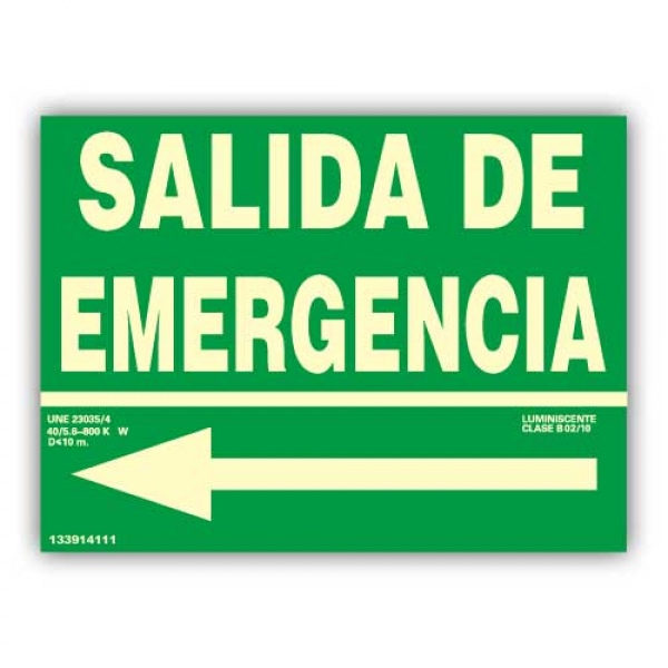 "Señal Texto ""Salida de Emergencia"" con Flecha Izquierda 22x30cm"