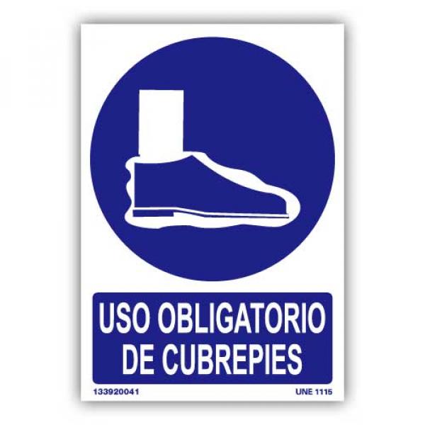 """Señal """"Uso Obligatorio de Cubrepiés"""""""