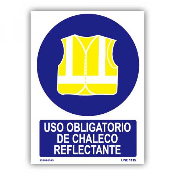 "Señal ""Uso Obligatorio Chaleco Reflectante"""