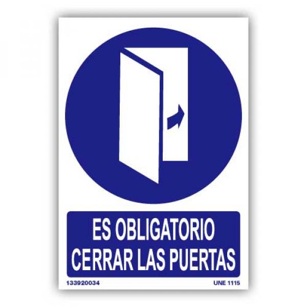 """Señal """"Es Obligatorio Cerrar las Puertas"""""""