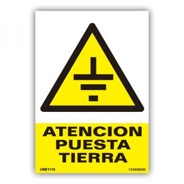 """Señal  """"Atención Puesta Tierra"""""""