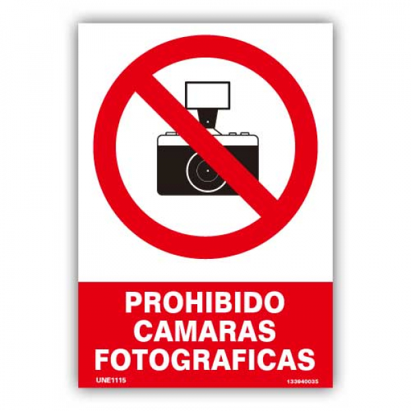 "Señal ""Prohibido Cámaras Fotográficas"""