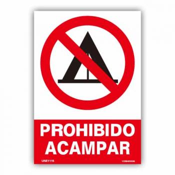 """Señal """"Prohibido Acampar"""""""