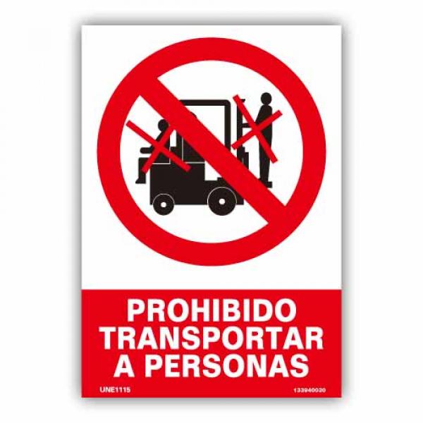 "Señal ""Prohibido Transportar a Personas"""