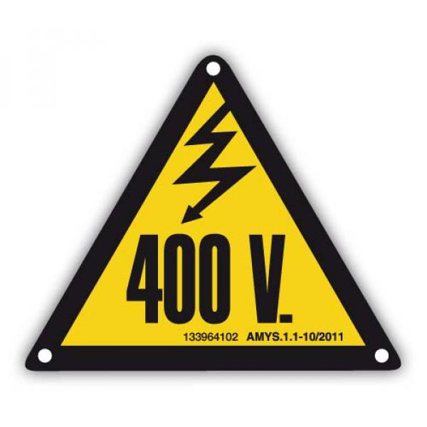 Señal adhesiva riesgo eléctrico 400V 105mm