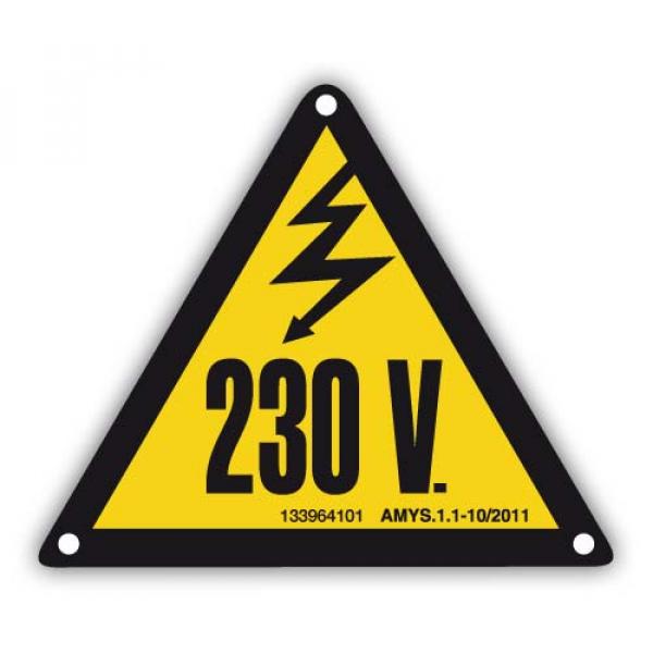 Señal adhesiva peligro eléctrico 230V 50mm (10uds)