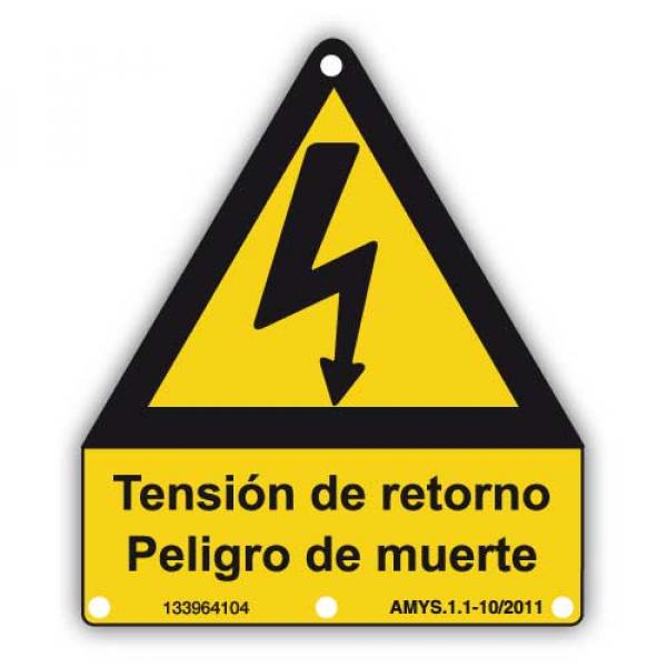 Señal adhesiva peligro tensión de retorno
