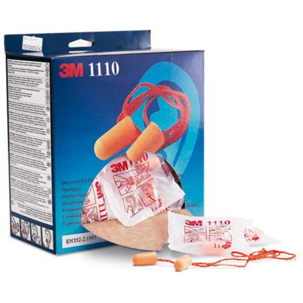Caja 100 pares tapones 3M 1110 con cordón