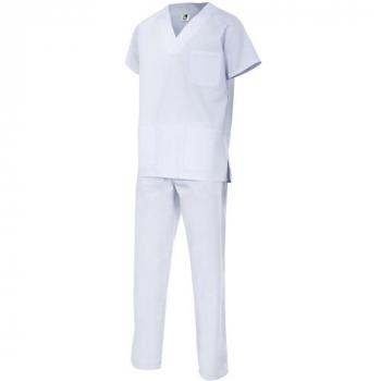 Conjunto pantalón y chaquetilla sanitario blanco