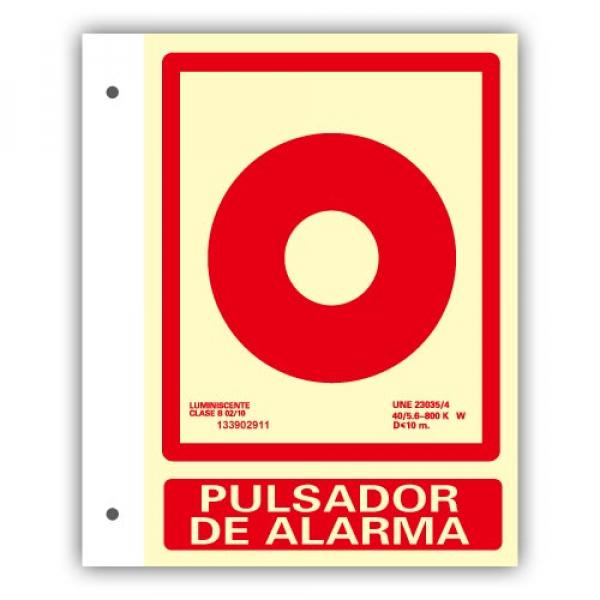 Banderola Alum. Texto Pulsador de Alarma 21x30cm