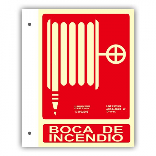 Banderola Alum. Texto Boca de Incendio 21x30cm
