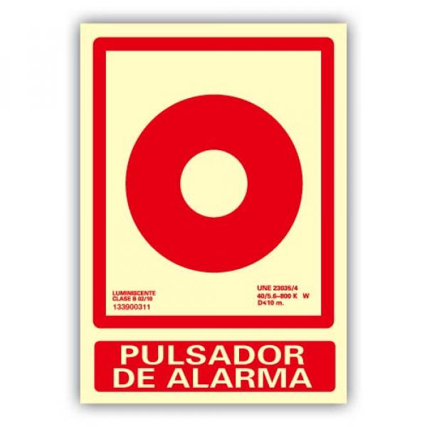 Señal Aluminio Dibujo Pulsador de Alarma 21x30cm