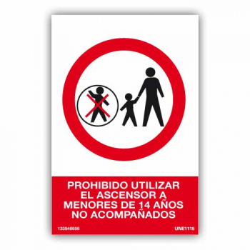 Señal Prohibido Uso Ascensor a Menores No...96