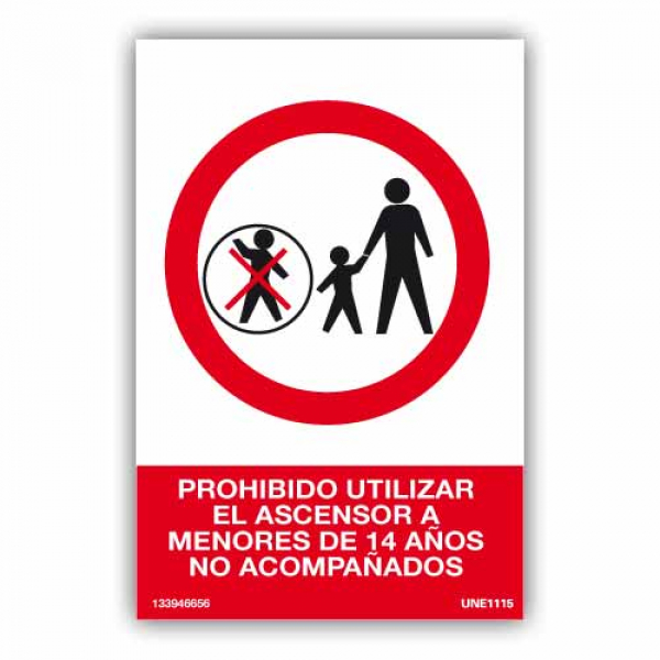 Señal Prohibido Uso Ascensor a Menores No Acompañados