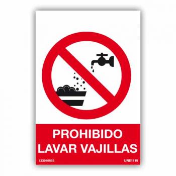 Señal Prohibido Lavar Vajillas
